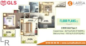 Gls Arawali Homes Floor Plan 2 BHK Type 1