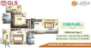 Gls Arawali Homes Floor Plan 2 BHK Type 2