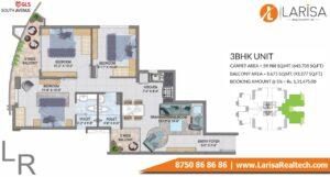 GLS South Avenue Floor Plan 3 BHK
