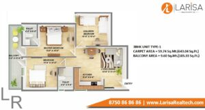 Gls Arawali Homes 2 Floor plan 3BHK type 1