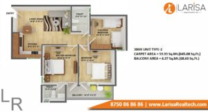 Gls Arawali Homes 2 Floor plan 3BHK type 2