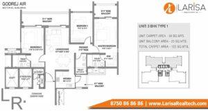 Godrej Air Floor Plan 3BHK Type 1
