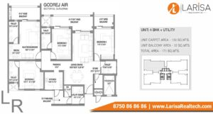 Godrej Air Floor Plan 4BHK + Utility