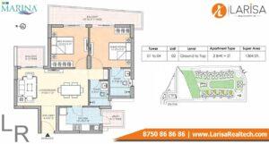 M3M The Marina Floor Plan 2 BHK