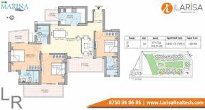 M3M The Marina Floor Plan 3 BHK 2