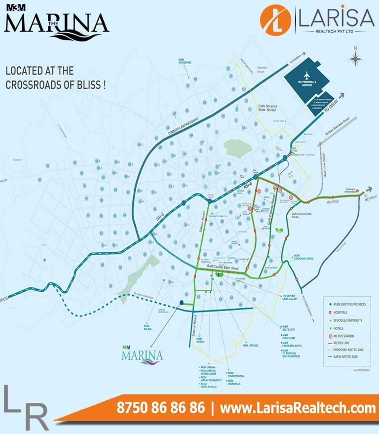 M3M The Marina Location Map