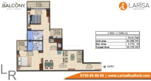 MRG World The Balcony Floor Plan 2 BHK Type A