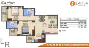 MRG World The Balcony Floor Plan 2 BHK Type B