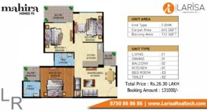 Mahira Homes 95 Floor Plan 3 BHK