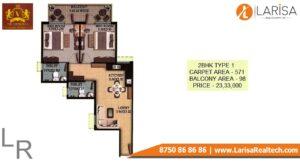 OSB The Venetian Floor Plan 2 BHK Type 1