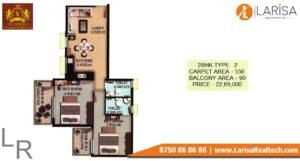 OSB The Venetian Floor Plan 2 BHK Type 2
