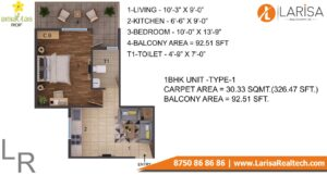 ROF Amaltas Floor Plan 1 BHK Type 1