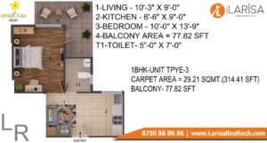 ROF Amaltas Floor Plan 1 BHK Type 3