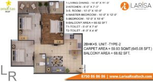ROF Amaltas Floor Plan 2 BHK+S Type 2