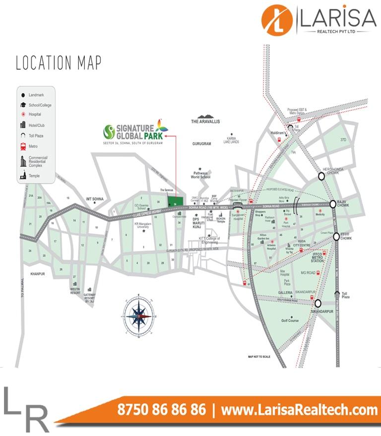 Signature Global Park Floors 2&3 Location Map