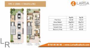 Signature Global Park Floors Floor Plan 2 BHK+1 Type E