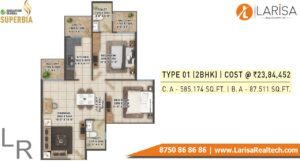 Signature Global Superbia Floor Plan 2BHK Type1