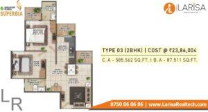 Signature Global Superbia Floor Plan 2BHK Type3