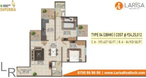 Signature Global Superbia Floor Plan 2BHK Type4