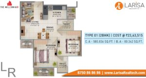 Signature Global The Millennia 3 Floor Plan 2bhk Type1