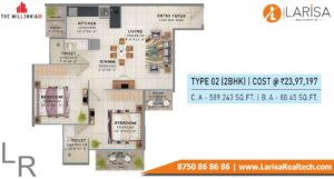 Signature Global The Millennia 3 Floor Plan 2bhk Type2