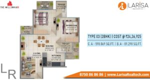 Signature Global The Millennia 3 Floor Plan 2bhk Type3