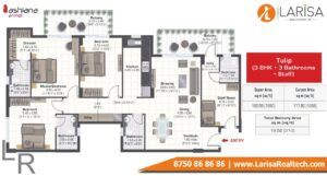 Ashiana Anmol Floor Plan 3bhk + Staff