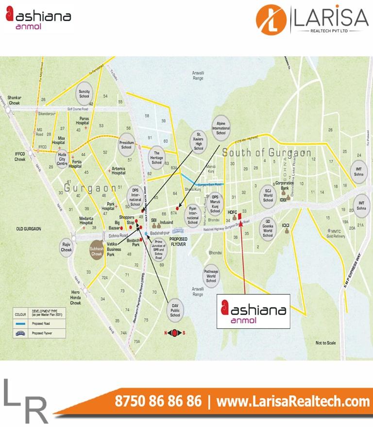 Ashiana Anmol Location Map