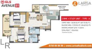 GLS Avenue 81 2BHK+S Type A Floor Plan