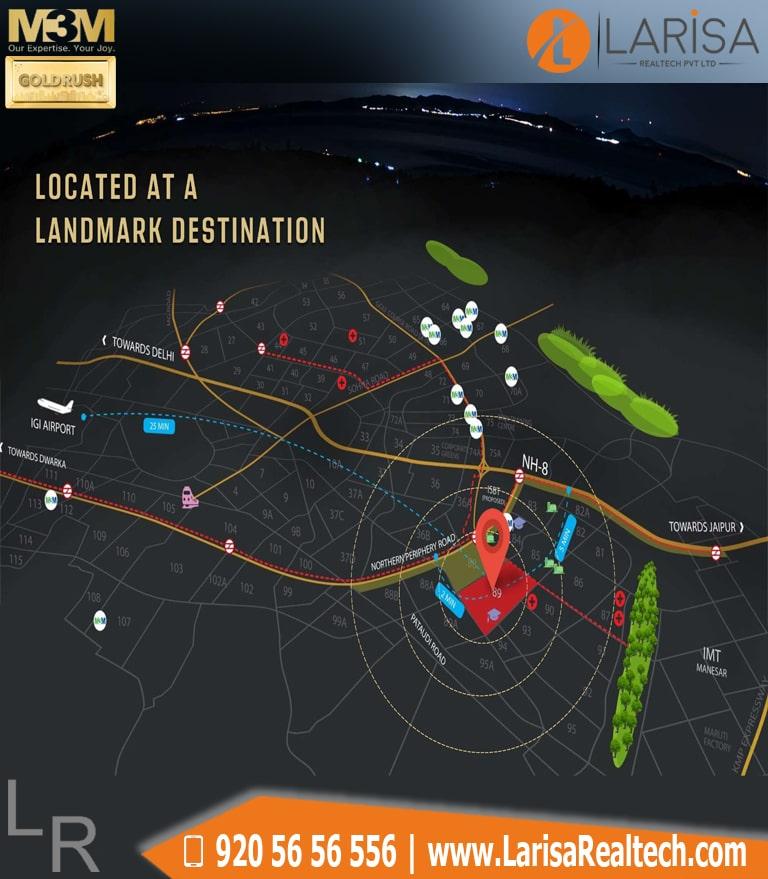 M3m GoldRush Boutique Floors Location Map