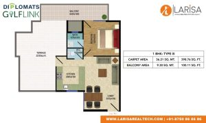 Diplomats Golf Link Floor Plan 1BHK TYPE 3