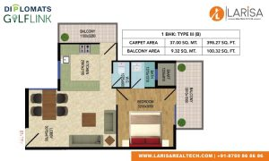 Diplomats Golf Link Floor Plan 1BHK TYPE 3(B)