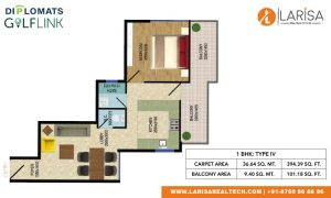Diplomats Golf Link Floor Plan 1BHK TYPE 4
