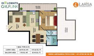 Diplomats Golf Link Floor Plan 1BHK TYPE 6(T)