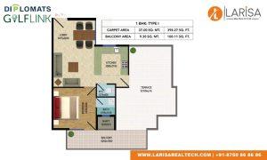 Diplomats Golf Link Floor Plan 1BHK TYPE1