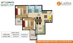 Diplomats Golf Link Floor Plan 2BHK TYPE 3