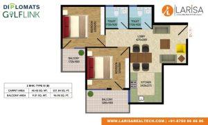 Diplomats Golf Link Floor Plan 2BHK TYPE 3(B)