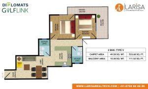Diplomats Golf Link Floor Plan 2BHK TYPE 5