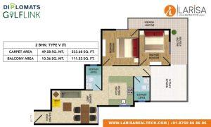 Diplomats Golf Link Floor Plan 2BHK TYPE 5(T)