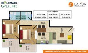 Diplomats Golf Link Floor Plan 2BHK TYPE 6