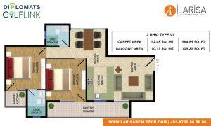 Diplomats Golf Link Floor Plan 2BHK TYPE 7
