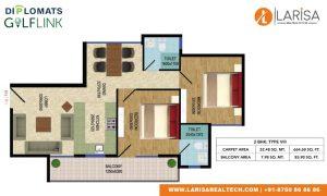 Diplomats Golf Link Floor Plan 2BHK TYPE 8
