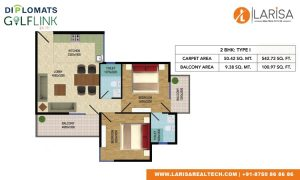 Diplomats Golf Link Floor Plan 2BHK TYPE1