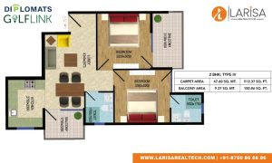 Diplomats Golf Link Floor Plan 2bhk type 4