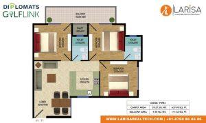 Diplomats Golf Link Floor Plan 3BHK TYPE 1