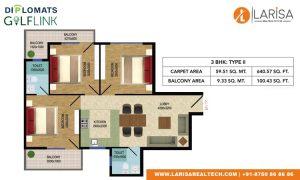 Diplomats Golf Link Floor Plan 3BHK TYPE 2