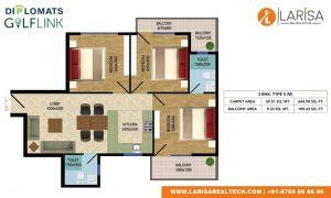 Diplomats Golf Link Floor Plan 3BHK TYPE 2(M)