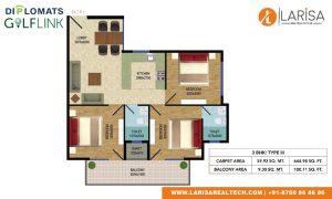 Diplomats Golf Link Floor Plan 3BHK TYPE 3