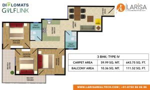 Diplomats Golf Link Floor Plan 3BHK TYPE 4
