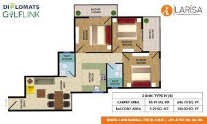 Diplomats Golf Link Floor Plan 3BHK TYPE 4(B)